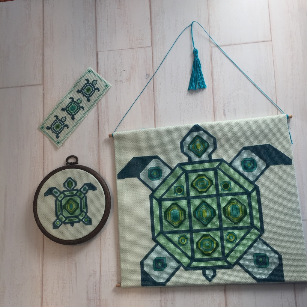Green and teal cross stitch pattern collection large Turtle wall hanging small turtle framed in hoop turtle bookmark